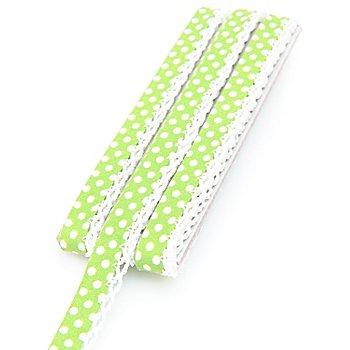 buttinette Baumwoll-Schrägband 'Punkte' mit Häkelborte, hellgrün-weiß, 3 m