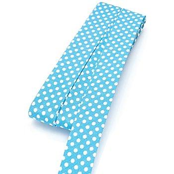 buttinette Biais en coton 'pois', turquoise/blanc, largeur : 2 cm, longueur : 5 m