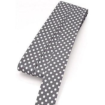 buttinette Baumwoll-Schrägband 'Punkte', grau-weiß, Breite: 2 cm, 5 m