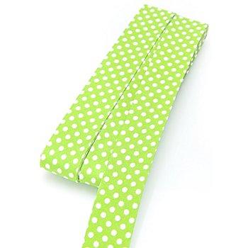 buttinette Biais en coton 'pois', vert clair/blanc, largeur : 2 cm, longueur : 5 m