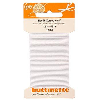 buttinette Elastik-Kordel, weiss, Stärke: 1,5 mm, Länge: 5 m