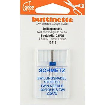 buttinette Zwillingsnadel 'Stretch', Stärke: 75, Nadelabstand: 2,5 mm