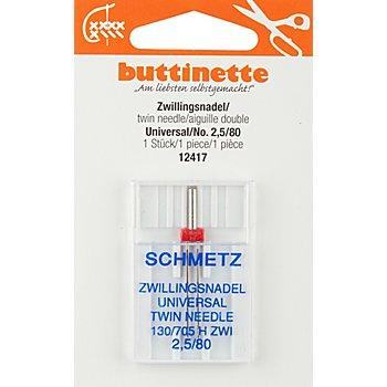 buttinette Zwillingsnadel 'Universal', Stärke: 80, Nadelabstand: 2,5 mm