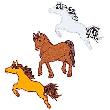 buttinette Applikationen 'Pferde', Größe: 4 - 7,2 cm, Inhalt: 3 Stück
