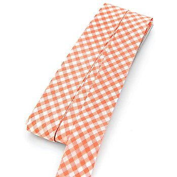 buttinette Biais en coton 'carreaux vichy', orange/blanc, largeur : 2 cm, 5 m