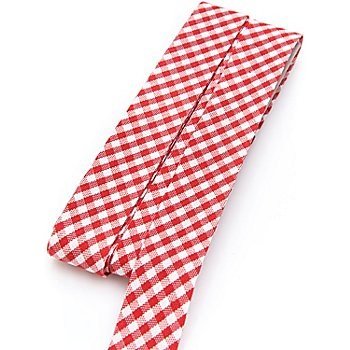 buttinette Baumwoll-Schrägband 'Vichykaro', rot-weiss, Breite: 2 cm, 5 m