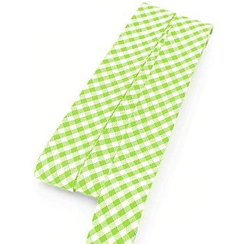 buttinette Baumwoll-Schrägband 'Vichykaro', hellgrün-weiß, Breite: 2 cm, 5 m