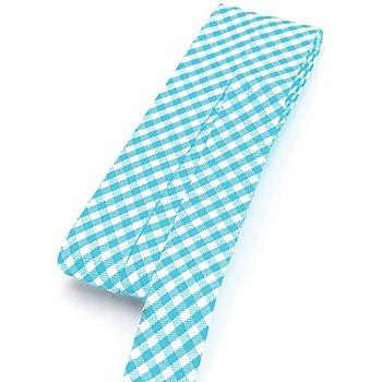 buttinette Baumwoll-Schrägband 'Vichykaro', türkis-weiß, Breite: 2 cm, 5 m