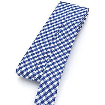 buttinette Baumwoll-Schrägband 'Vichykaro', blau-weiß, Breite: 2 cm, 5 m