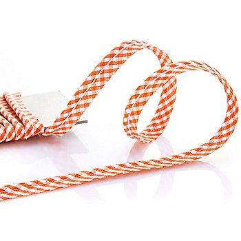 buttinette Baumwoll-Paspelband 'Vichykaro', orange-weiss, 4 mm Ø, 5 m