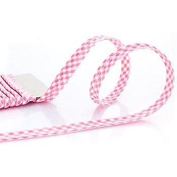 buttinette Baumwoll-Paspelband 'Vichykaro', rosa-weiß, 4 mm Ø, 5 m