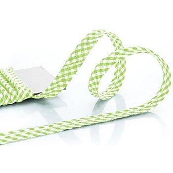 buttinette Baumwoll-Paspelband 'Vichykaro', hellgrün-weiß, 4 mm Ø, 5 m