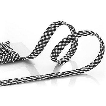 buttinette Passepoil en coton 'carreaux vichy', noir/blanc, 4 mm Ø, 5 m