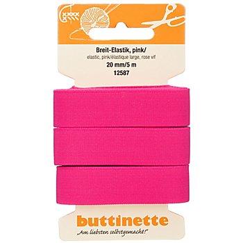 buttinette Gummiband 'Breit-Elastik', pink, Breite: 20 mm, Länge: 5 m