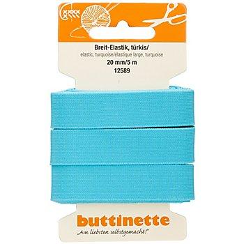 buttinette Ruban élastique 'large', turquoise, largeur : 20 mm, longueur : 5 m