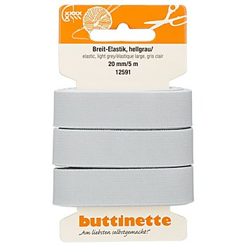 buttinette Gummiband 'Breit-Elastik', hellgrau, Breite: 20 mm, Länge: 5 m