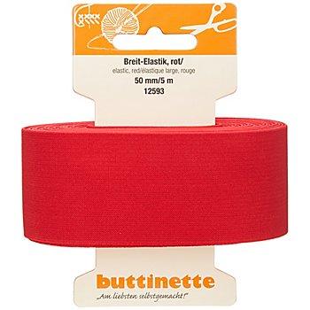 buttinette Gummiband 'Breit-Elastik', rot, Breite: 50 mm, Länge: 5 m