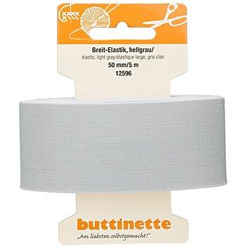 buttinette Ruban élastique 'large', gris clair, largeur : 50 mm, longueur : 5 m