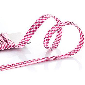 buttinette Passepoil en coton à carreaux vichy, rose vif/blanc, 4 mm Ø, 5 m