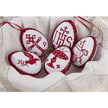 Stickpackung 'Ostereier traditionell' zum Hängen, 5er-Set