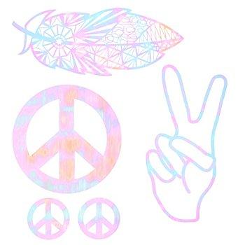 buttinette Folien-Applikationen 'Hippie', Größe: 5,5 - 22,3 cm, Inhalt: 5 Stück