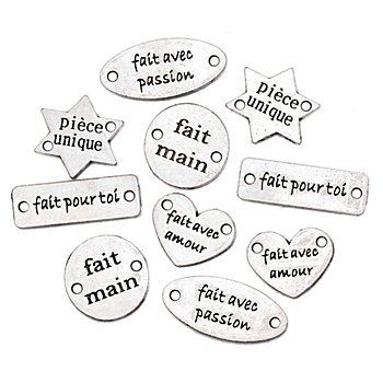 buttinette handmade Label-Set aus Metall 'Französisch', 10 Stück