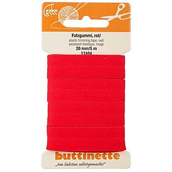 buttinette Falzgummi, rot, Breite: 2 cm, 5 m
