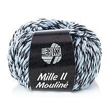 Lana Grossa Wolle Mille II Mouliné, hellblau-weiß