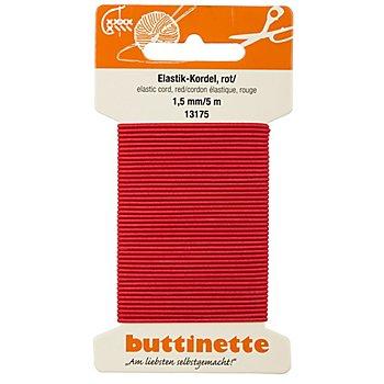 buttinette Elastik-Kordel, rot, Stärke: 1,5 mm, Länge: 5 m