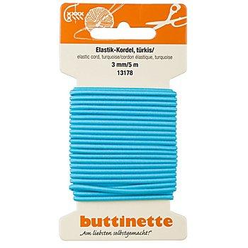 buttinette Elastik-Kordel, türkis, Stärke: 3 mm, Länge: 5 m