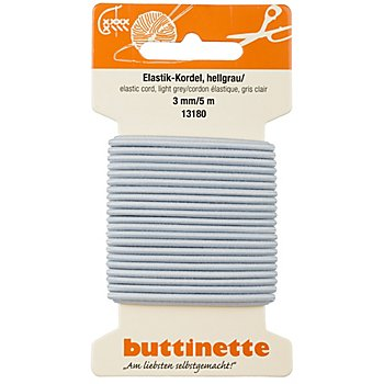 buttinette Elastik-Kordel, hellgrau, Stärke: 3 mm, Länge: 5 m