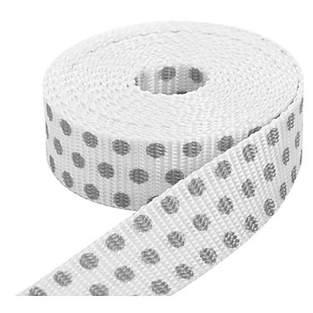 buttinette Taschengurtband 'Punkte', weiss-hellgrau, 2,5 cm, Länge: 3 m