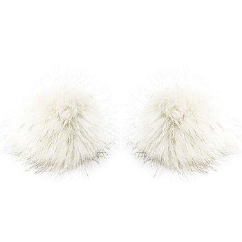 buttinette Fellimitat-Bommel, weiss, Grösse: 12 cm Ø