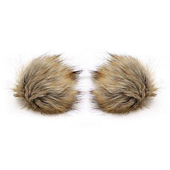 buttinette Pompons en imitation fourrure, beige, 12 cm Ø