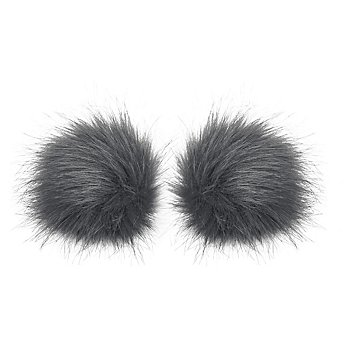 buttinette Fellimitat-Bommel, grau, Grösse: 9 cm Ø