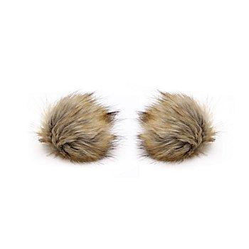 buttinette Fellimitat-Bommel, beige, Größe: 9 cm Ø