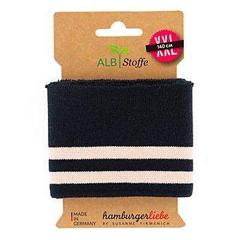 Albstoffe Bande bord-côte coton bio 'Cuff Me College', bleu marine/blanc, 1,1 m