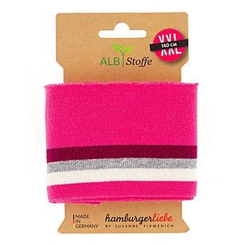 Albstoffe Bande bord-côte coton bio 'Cuff Me Glam', rose multicolore, scintillant, 1,1 m