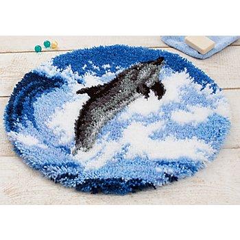 Knüpfteppich 'Delfin', Ø 55 cm