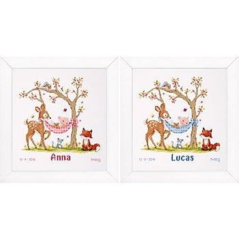 Stickbild 'Baby/Tiere', 28 x 29 cm