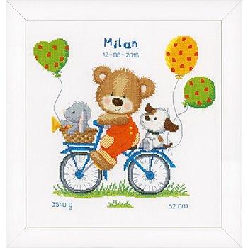 Tableau à broder 'ourson à vélo', 27 x 29 cm