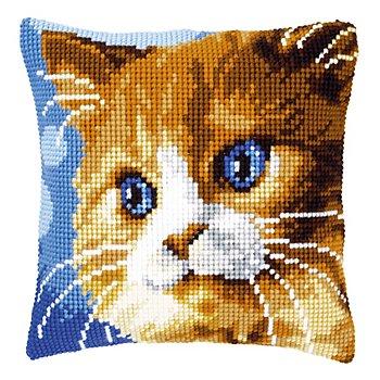 Devant de coussin 'chat aux yeux bleus' à broder au point de croix