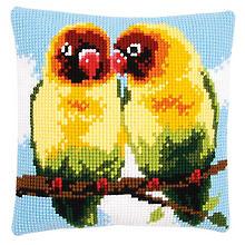 Kreuzstichkissen 'Papageien'