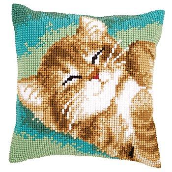 Kreuzstichkissen 'Schlafende Katze'