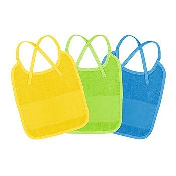 buttinette Sticklätzchen 3er-Pack, dunkelblau, lemon, sonnengelb