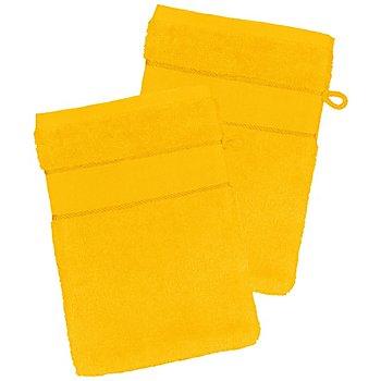 2er-Pack buttinette Walk-Frottier-Waschhandschuh, sonnengelb