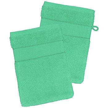2er-Pack buttinette Walk-Frottier-Waschhandschuh, smaragd