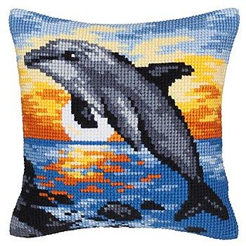 Devant de coussin 'dauphin au coucher du soleil' à broder au point de croix