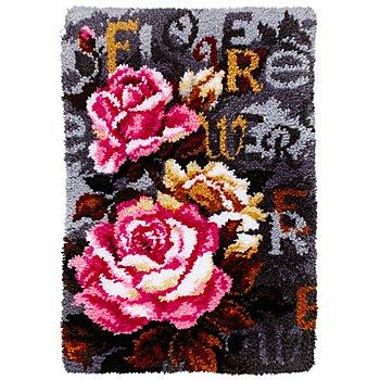 Tapis au point noué 'roses', 50 x 74,5 cm
