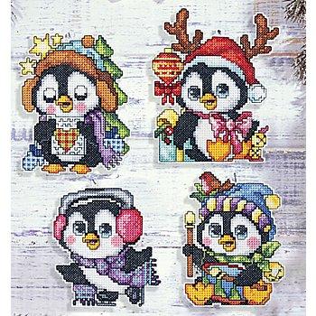 Motifs à broder 'pingouins' à suspendre, set de 4 pièces